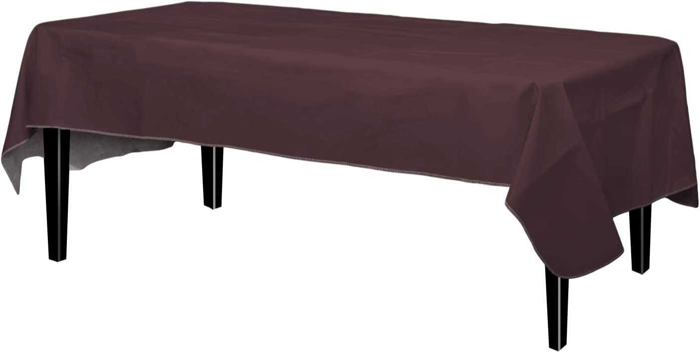 Exquisite Flannel Backed Vinyl Tablecloths, Solid Color Premium Quality Waterproof Table Cover 54 Inch. X 108 Inch - Brown