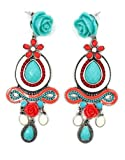 Imitated Turquoise and Red Coral Vintage Drop Earrings / Fashion Jewelry