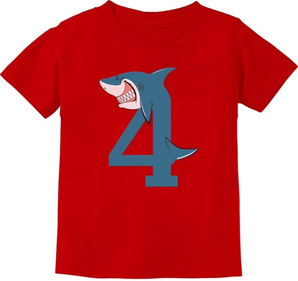 4th Birthday Shark Party Gift for 4 Year Old Toddler Kids T-Shirt