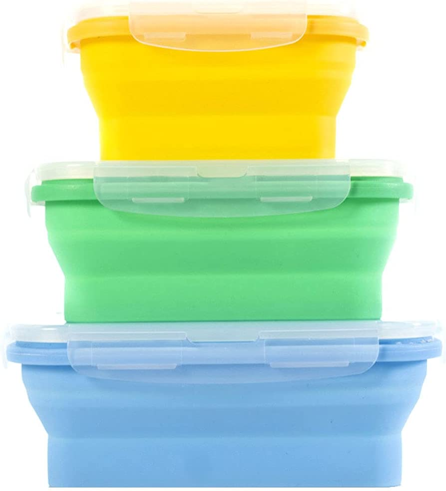 CLEACE Collapsible Silicone Food Storage Containers with BPA Free Airtight Plastic Lids - Kitchen Folding Lunch Boxes for traveling and camping(350ml+500ml+800ml) (multicolor)