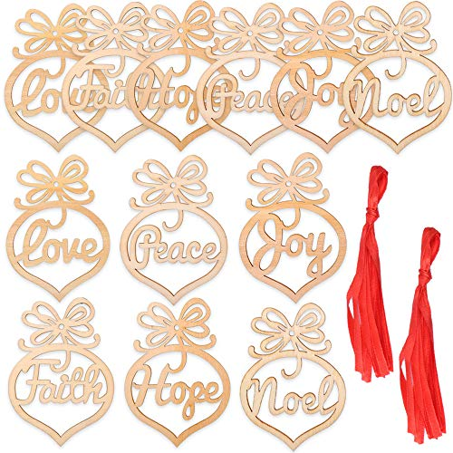 eZAKKA Christmas Ornaments, 12 Pieces Wooden Ornaments Christmas Tree Hanging Tags Pendant Embellishments Crafts Decor for Xmas Tree Holiday Wedding Valentine's Day Decorations Gift with Strings