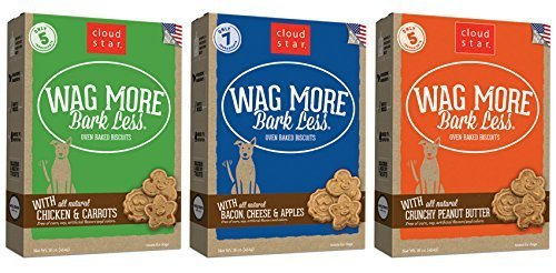 Cloud Star Wag More Bark Oven Baked Dog Treats 3 Flavor Variety Bundle: (1) Wag More Bark Less Oven Baked Crunchy Peanut Butter, (1) Wag More Bark Less Oven Baked Bacon, Cheese, and Apples, and (1) Wag More Bark Less Oven Baked Chicken & Carrots, 16 Ounces