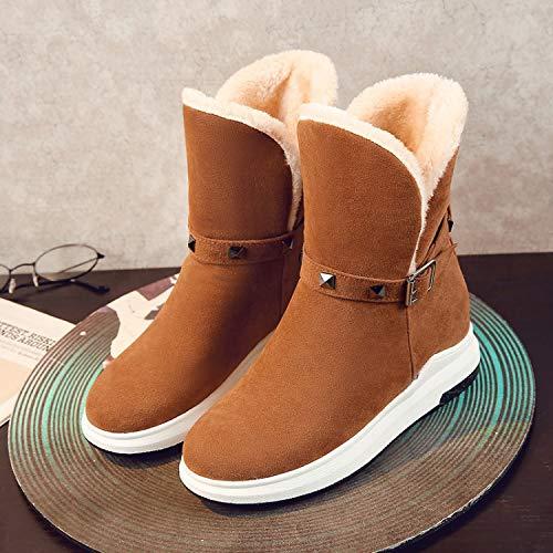 Plano Tamaño Con Fondo Invierno Phy Botines Botas Y De Mujer 米白色 Shoe Nieve Gran R01q6