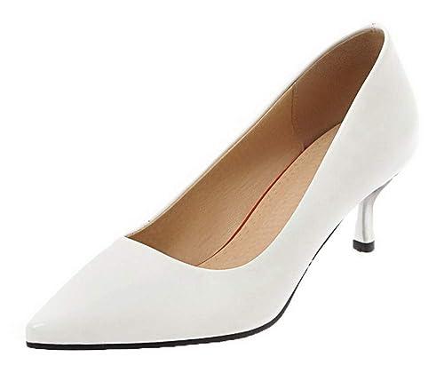 Puntera Medio Zapatos De Pu Tacón Agoolar Cerrada Mujeres YqftnwI