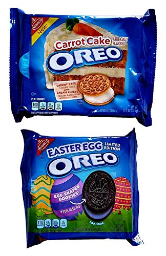 Carrot Cake, Easter Egg Limited Edition Pack of 2 Oreo Sandwich Cookies Bundle ()