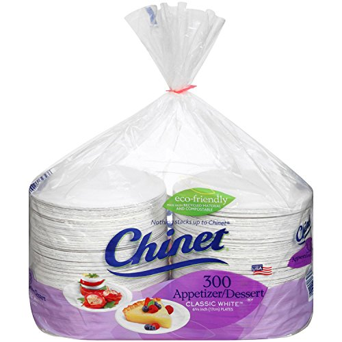 Chinet Classic White Dessert Plates, 300 ct 6 3/4'' (17 cm) by Chinet