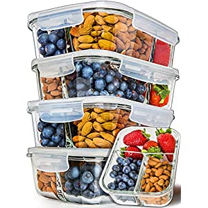 [5-Pack] Glass Meal Prep Containers 3 Compartment – Bento Box Containers Glass Food Storage Containers with Lids – Food Prep Containers Glass Storage Containers with lids Lunch Containers