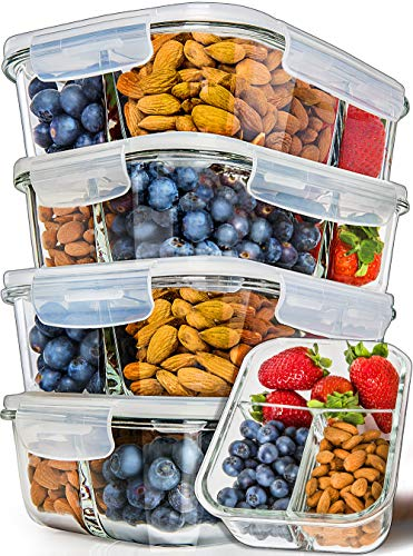 Prep Naturals Glass Meal Prep Containers 3 Compartment 5 Pack