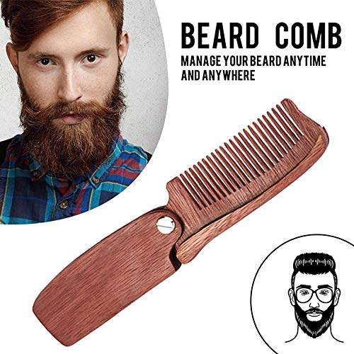 lesgos Folding Beard Comb, Pocket Wooden Hair Styling Comb, Portable Handmade Anti Static Mustache Comb for Men Women All Hair Types
