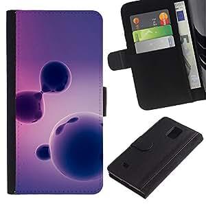 [Neutron-Star] Modelo colorido cuero de la carpeta del tirón del caso cubierta piel Holster Funda protecció Para Samsung Galaxy Note 4 IV [Purple Pattern]
