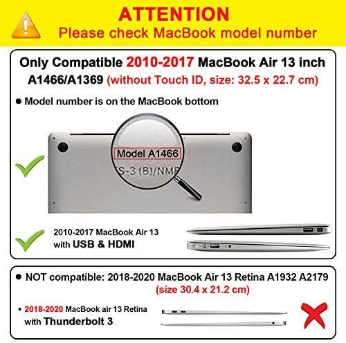 iNeseon MacBook Air Funda de 13 Pulgadas (Modelo A1466 A1369), Protectora Rígida Carcasa con Cubierta de Teclado para MacBook Air 13 2010-2017 (Tamaño 32.5 x 22.7cm), Azul Serenidad: Amazon.es: Informática