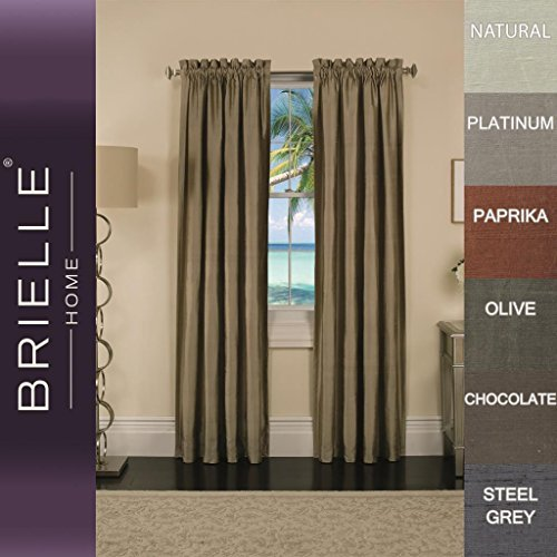Brielle 100% Dupioni Real Silk Lined, Insulated, Room Darkening and Energy Saving Rod Pocket Panel, 50 by 84