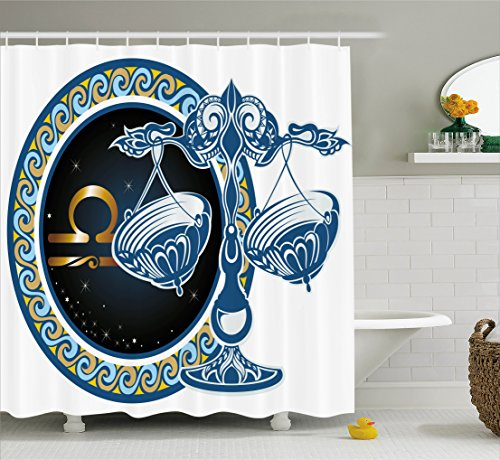 Ambesonne Zodiac Shower Curtain, Historical Astronomy Icon Sign Libra Pattern with Wheel and Scales Planetary Image, Fabric Bathroom Decor Set with Hooks, 84 Inches Extra Long, Multicolor