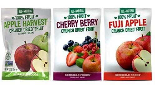 Sensible Foods All-Natural Gluten Free Vegan Non-GMO Crunch Dried Fruit Snacks 3 Flavor 9 Bag Variety Bundle: (3) Cherry Berry, (3) Fuji Apple, and (3) Apple Harvest, .32-.37 Oz. Ea. -