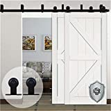 KIRIN 10 Foot Barn Door Hardware Double Doors Bypass Soft Close Quiet Sliding Track Kit Interior (T Shape)