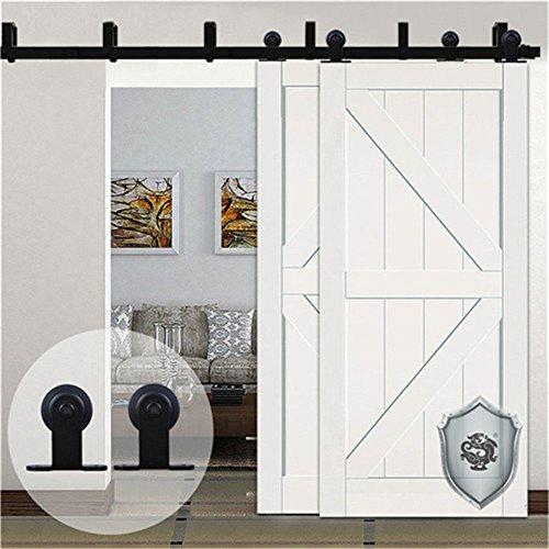 KIRIN 10 Foot Barn Door Hardware Double Doors Bypass Soft Close Quiet  Sliding Track Kit Interior