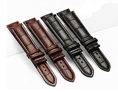 12-17mm New Genuine Leather Silver Clasp Wrist Watch Bands Strap Replacement for Ladies Womens (16mm, Black & Black Line) by Cover Plus (Image #3)