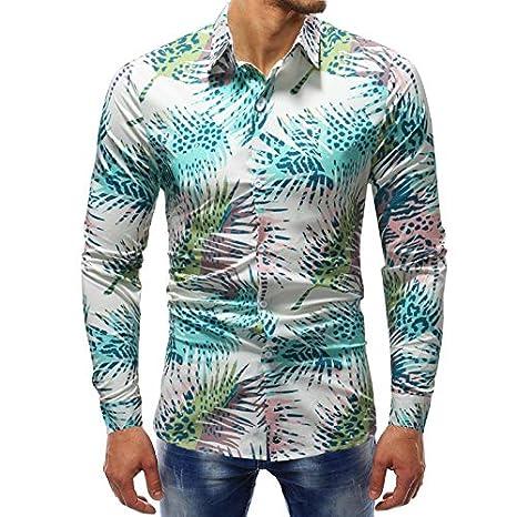 Whj - Camisa Hawaiana de Manga Larga con Botones para Hombre, XXL ...