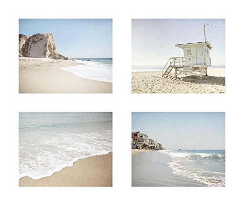 (California Malibu Beach Wall Art, Los Angeles Coastal Decor, Set of 4 8x10 Matted Prints 'Malibu Summer' )
