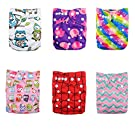 Alva Baby 6pcs Pack Pocket Adjustable Reusable Cloth Diaper with 2 Inserts Each (Girl Color) 6DM11