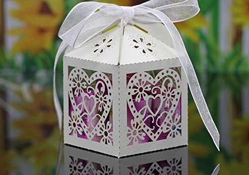 Saitec New pack of 50ps Ivory candy box wedding candy boxes love heart laser cut wedding favor gift box