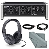 "Tascam US-2x2 2-Channel USB Audio Interface Bundle with 1 ¼"" Cable +1 XLR Cable + Samson Stereo Headphones+ Fibertique Cleaning Cloth"