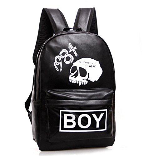 Skyseen PU Leather Skull Backpack School Bookbag Casual Satchel Travel Daypack for Boys
