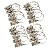 Whitelotous 20pcs Stainless Steel Rustproof Drapery Curtain Rings with Clips,Curtain Rod Clips