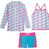 SwimZip Girls Long Sleeve Rash Guard Swim Shorts Set with UPF 50+