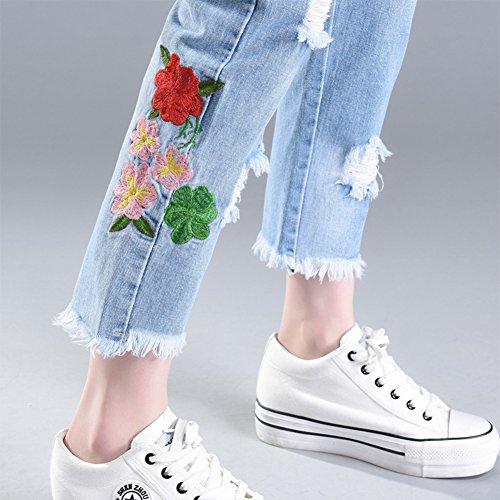Dei Matita Strappato Fiori Pantaloni Ricamati Jeans Denim Blu Donne Caviglia gEO0xAwAq