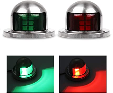 Powstro One Pair Red /& Green Marine Boat Yacht Light LED Bow Navigation Side Lights 12V Stainless Steel