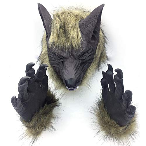 Raptor Halloween Prank (TANGGOOO 1Pc Creepy Full Face Wolf Latex Mask Wolf Claws Theater Prank Prop Crazy Animal Masks Halloween Party Costume Uni Novelty B4 Must Have Gifts Girls Favourite)