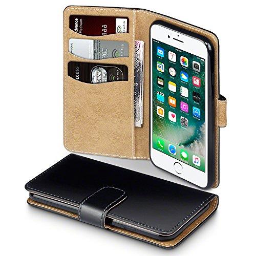 Coque Cuir iPhone 7, Terrapin Étui Housse en Cuir pour iPhone 7 Étui - Noir/Brun