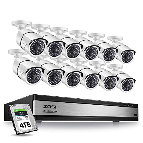 ZOSI 16 Channel 1080p Security Camera System,16 Channel DVR with 4TB Hard Drive and 12 x CCTV Bullet Camera 1080p Outdoor/Indoor with 100ft Long Night Vision and 105°Wide Angle