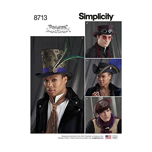 Sewing Pattern Top Hat - Simplicity Creative Patterns US8713A Men's Hats in Three Sizes Accessories