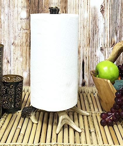 Ebros Rustic Nature Wildlife Woodland Forest Animal Paper Towel Holder Display Dispenser Stand Kitchen Bathroom Home Decor Party Hosting Accent (Stag Deer Antler Bone) (Moose Bathroom Towel Holder)