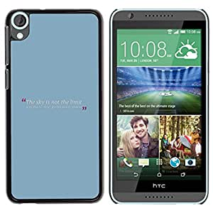 Qstar Arte & diseño plástico duro Fundas Cover Cubre Hard Case Cover para HTC Desire 820 ( Blue Baby Quote Message Text Minimalist)