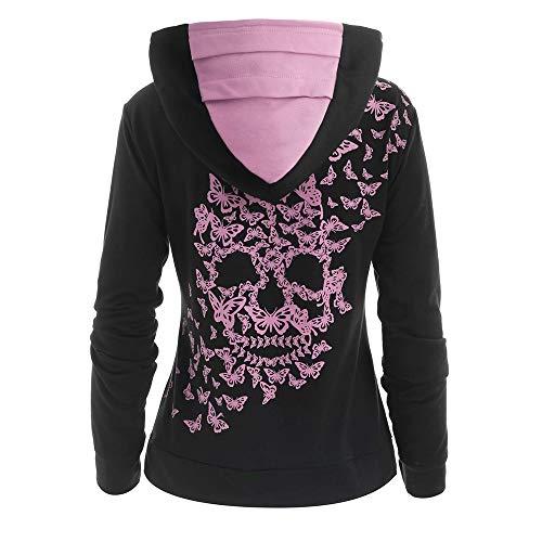 CharMma Women's Cowl Neck Butterflies Skull Print Kangaroo Pocket Hoodie Top (Pink, M) (Hoodie Pink Skull)