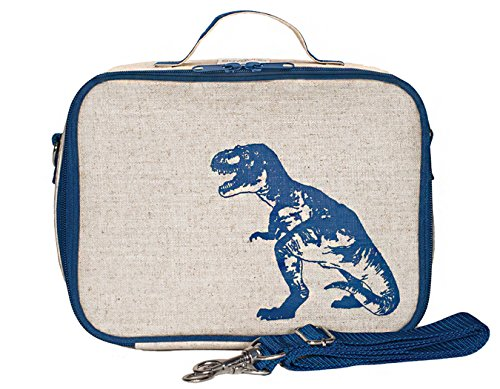 SoYoung Lunch Bag - Raw Linen, Eco-Friendly, Retro-Inspired and Easy to Clean (Blue ()