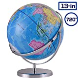 ZUEDA 13 Inch Cartography World Globe| Gyro-Assembled Revolution Geographic Globe| Desktop Political Globe for Kids & Teachers, Educational Gift
