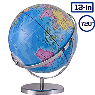 ZUEDA 13 Inch Cartography World Globe Revolution Geographic Globe| Desktop Political Globe for Kids & Teachers, Educational Gift