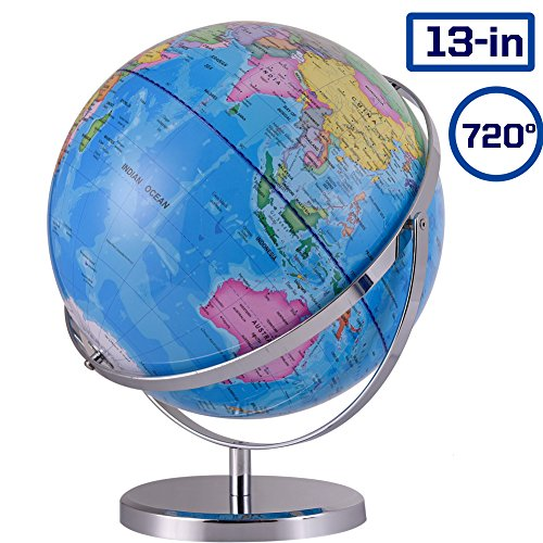 ZUEDA 13 Inch Cartography World Globe| Gyro-Assembled Revolution Geographic Globe| Desktop Political Globe for Kids & Teachers, Educational Gift