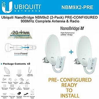 Amazon Ubiquiti NanoBridge M9 NBM9 2 PACK PRE CONFIGURED 900MHz NBM900 Antenna Radio Industrial Scientific