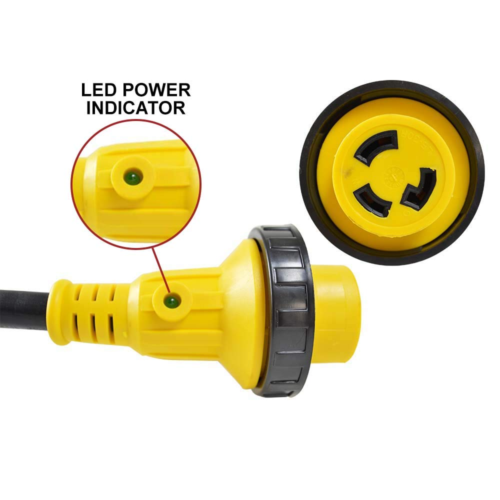 Superior Electric RVA1582 RV Pigtail Adapters 50 Amp Male NEMA 14-50P to 30 Amp Female NEMA L5-30R, Length 18-Inch 10AWG/3 Cord by Superior Electric (Image #2)