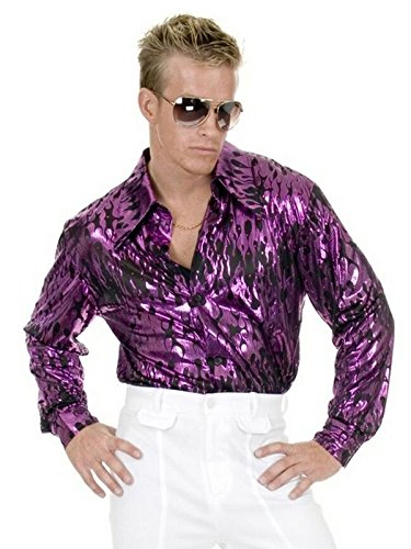 Men 3X (56-60 Jacket Size) Purple Flame Disco Costume Shirt