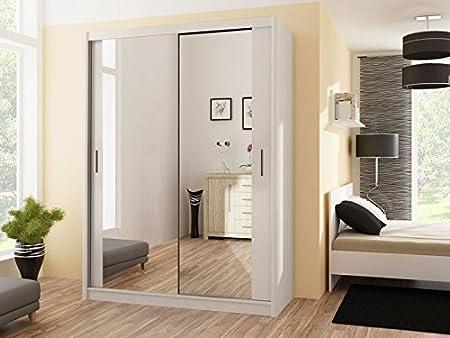 Armario con puertas correderas PARIS 120 blanco de 120 cm de ancho: Amazon.es: Hogar