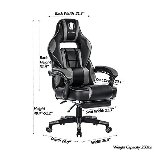 KILLABEE Reclining Memory Foam Racing Gaming Chair - Ergonomic High-Back Racing Computer Desk Office Chair with Retractable Footrest and Adjustable Lumbar Cushion, Grey by KILLABEE (Image #3)