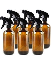 Amber Glass Spray Fles Boston 500ml (16 oz) - Hervulbare Container met Trigger Sproeiers, Caps en lables, Glazen fles voor etherische oliën, Reiniging, Room Spritzers of Aromatherapie