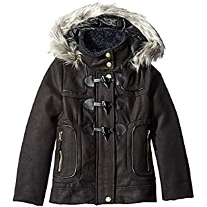 London Fog Big Girls' Toggle Wool Coat With Faux Fur Hood, Black, 10/12