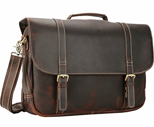 (Polare 16'' Real Leather Messenger Work Bag Business Laptop Briefcase Casual Satchel)